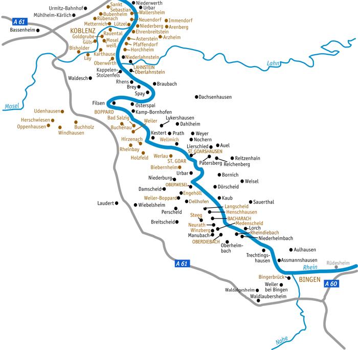 Karte der in regionalgeschichte.net aufgeführten Orte am Mittelrhein