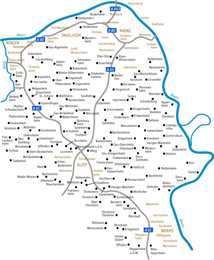 rheinhessen karte Städte & Dörfer in Rheinhessen   regionalgeschichte.net