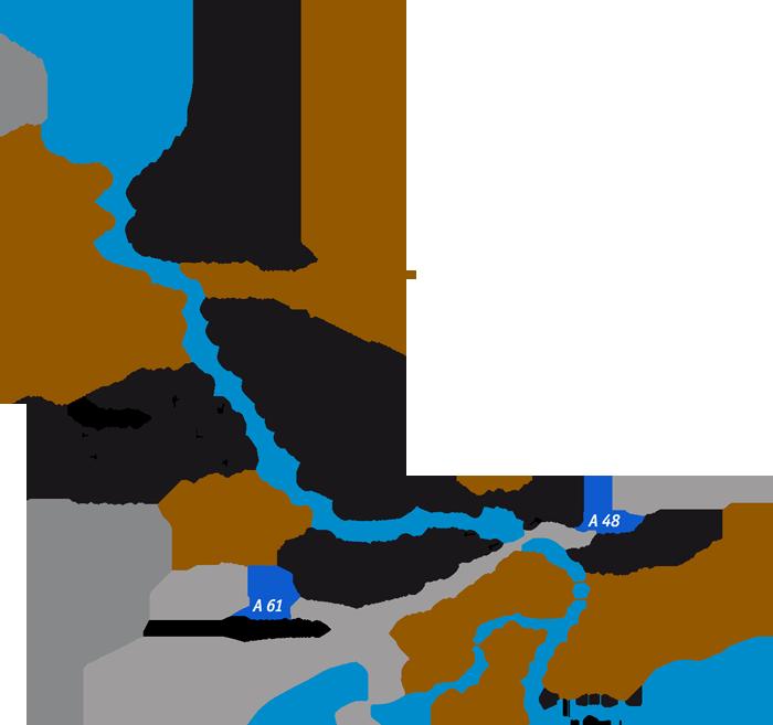 Karte der in regionalgeschichte.net aufgeführten Orte am Unteren Mittelrhein
