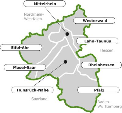 Karte der Regionen von Rheinland-Pfalz